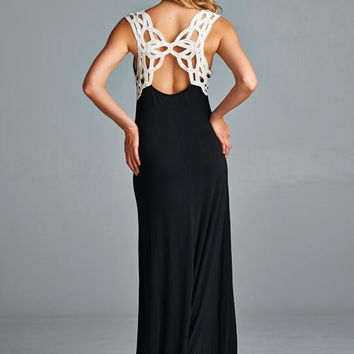 Black Maxi Dress with Crochet Open Back Design