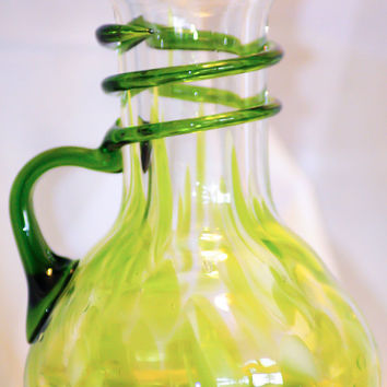 """Mid Century Glass Vase - Trailing Applied Handle with """"Spattered Inclusions"""""""