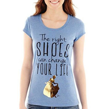 Disney Cinderella Right Shoes Can Change Your Life Juniors T-shirt