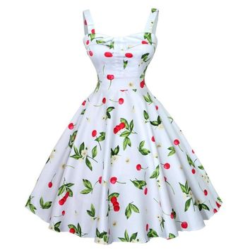 Women Vintage Rockabilly Full Circle Swing Backless Party Dress Beach Sundress Spaghetti Strap V-Neck Summer Dresses