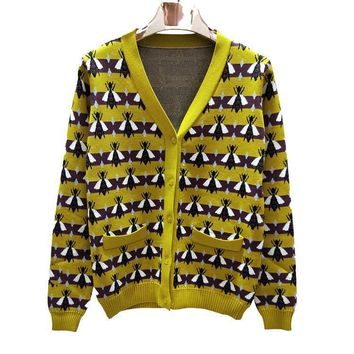 GUCCI Bee Women Fashion V-Neck Cardigan Jacket Coat