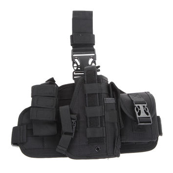 Tactical Pistol Molle Quick Detach Drop Leg Holster with MOLLE Pouch(Black) BHU2