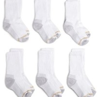 Gold Toe Big Boys'6 Pack Sport Crew Sock, White, Large