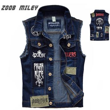 Trendy Classic Vintage Men's Jeans Vest Sleeveless Jackets Fashion Patch Designs Punk Rock Style Ripped Cowboy Frayed Denim Vest Tanks AT_94_13