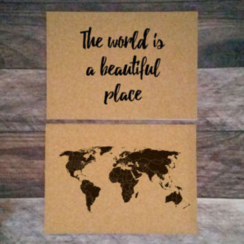 ANNIVERSARY SALE - The world is a beautiful place - 2 14x10 Cork Boards - Medium Cork Push Pin Travel Map SET - R E A D Y   T O  S H I P