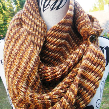 Knit scarf, FREE SHIPPING. open weave Knit Scarf with button, multicolor  infinity scarf, Cowl, loop scarf. unisex, gift . gift for women