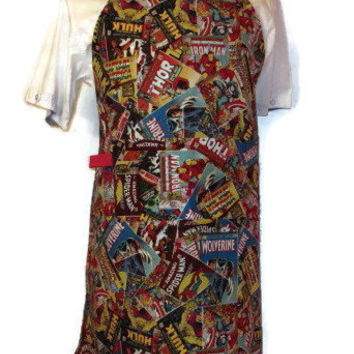 Male Reversible Apron - Comic Book Print - Blue