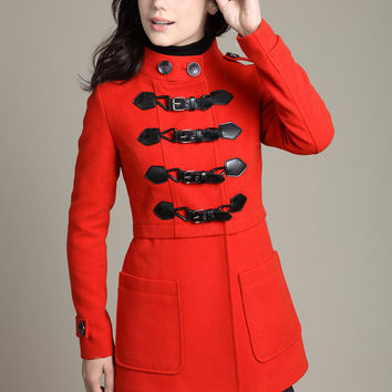 women's Wool clothing  winter Coat Warm red   Cashmere duffle coat double breasted button coat