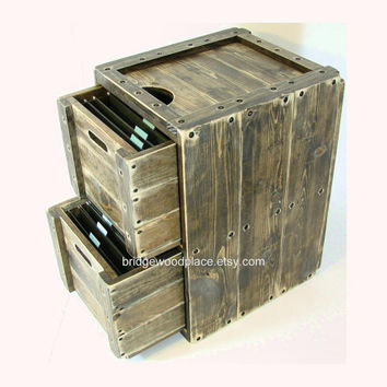 File Cabinet Rustic Solid Wood Office Filing Cabinet 2 Drawer Wooden File Storage & Organization