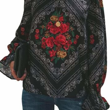 Gothic Red Rose Print Smocked Long Sleeve Blouse