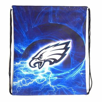 Philadelphia Eagles Drawstring Bags Men Backpack Digital Printing Pouch Customize Bags 35*45cm Sports Fan Flag