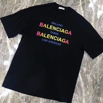 DCCK6HW Balenciaga' Women Casual Fashion Multicolor Gradient Color Letter Logo Print Short Sleeve T-shirt Tops