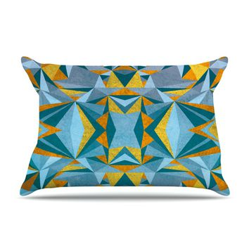 "Nika Martinez ""Abstraction Blue & Gold"" Pillow Case"