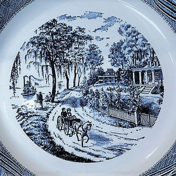 Mid Century Currier and Ives Pie Plate Home on Mississippi Americana Scene Vintage Kitchen Decor Country Farmhouse Cottage Royal Ironstone