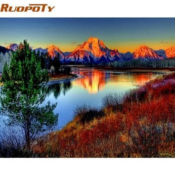 RUOPOTY Frame Mountain DIY Painting By Numbers Modern Home Wall Art Acrylic Paint On Canvas Hand Painted Oil Painting 40x50cm