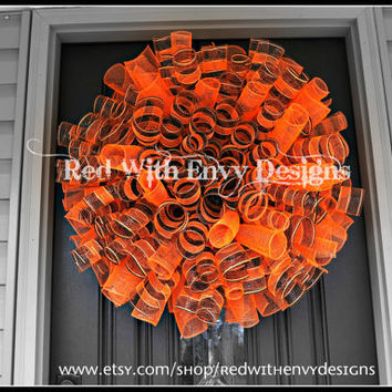 Halloween Spiral Wreath, Halloween Wreath, Spiral Wreath, Deco Mesh Wreath, Wreath, Halloween, Door Wreath, Orange Wreath
