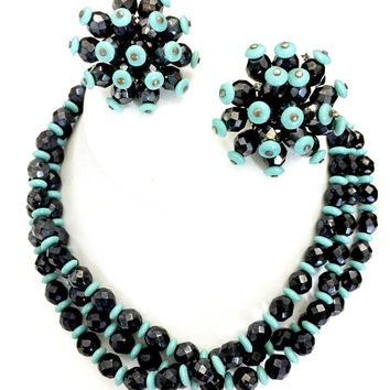 Atomic Turquoise & Black Bead Demi, Necklace Earring Set, Mid-Century Design, Black Turquoise Glass Beads, Sputnik Earrings, Gift for Her