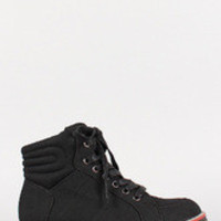 Women's Faux Suede High Top Lace Up Quilted Sneaker