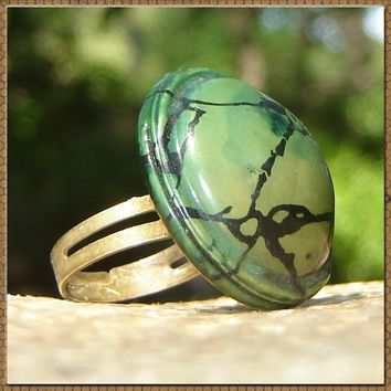 Vintage Domed Celluloid Button Ring - Earthy Greens and Marbalized Button Ring