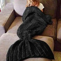 Hughapy knitted Mermaid Tail Blanket, Black