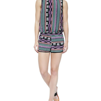 Diaz Printed Sleeveless Short Jumpsuit, Size: