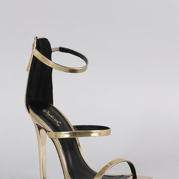 Qupid Metallic Triple Strap Open Toe Heel