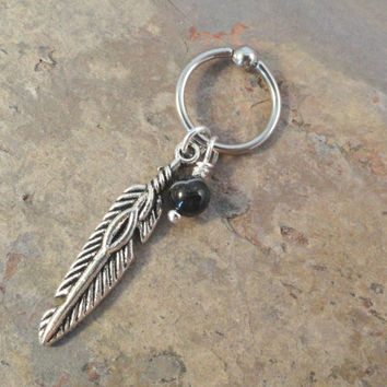 Black Onyx Cartilage Hoop Silver Feather CBR Earring Boho Tragus Helix Piercing