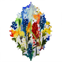 Ginette Fine Art Texas Blue Bonnets Baroque Clock