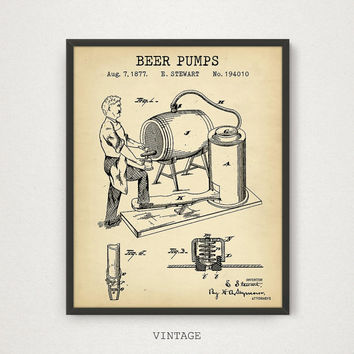 Beer Art, Beer Pumps Patent Print, Digital Download, Vintage Blueprint Art, Bar Pub Restaurant Cafe Bistro Decor, Bartender Gifts, Man Cave