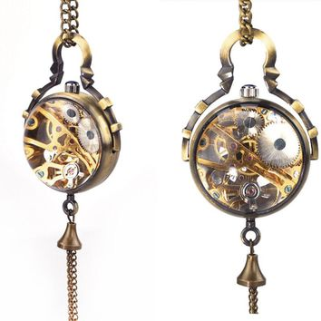 New Skeleton Steampunk Transparent Glass Ball Fish Eyes Mechanical Hand-winding Pendant Pocket Watch Chain Women Ladies Gifts