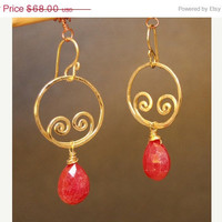SALE Nouveau 141 Hammered swirl shape earrings with Red Ruby, Sterling Silver, 14k Gold Filled