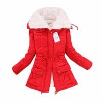 2015 Winter Coat Women Outwear Long Section of Lambs Wool Lapel Parka Cotton Warm Fashion Jacket Coat