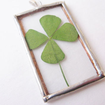 four leaf clover necklace  4 leaf clover pendant   by peeno123