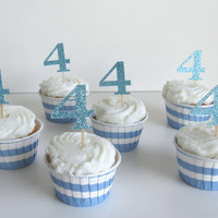 Glitter Age/Number Cake Topper or 12 Glitter Age/Number Cupcake Toppers in 10 Color Options