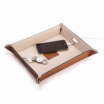 Saddle Brown Leather Valet & Charging Station W/leather Lining