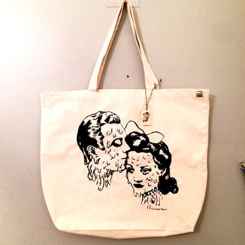 last one- Large DOOMED LOVERS Organic Canvas tote- samples- only 3 made