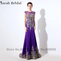 New Arrival Mermaid Evening Dresses Sheer Crystal Embroidery Purple Long Prom Dress Party Real Pictures Illusion Back LX039