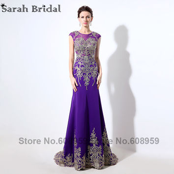2016 New Arrival Mermaid Evening Dresses Sheer Crystal Embroidery Purple Long Prom Dress Party Real Pictures Illusion Back LX039
