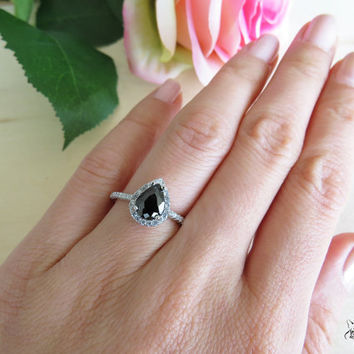 1.5 Carat Pear Cut Halo Engagement Ring, Vintage Style, D Color & Black Man Made Diamonds, Wedding, Sterling Silver, Bridal, Promise Ring
