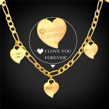 Women Chains Necklaces Heart lace 18K Stamp Real Gold Plated