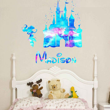 kcik1975 Full Color Wall decal Watercolor Character Disney Castle Princess Jasmine Girl name personalized Child's name