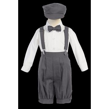Charcoal Grey Linen Blend Suspender Knicker Shorts Set 3M-4T