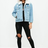 Missguided - White Faux Fur Collar Denim Jacket