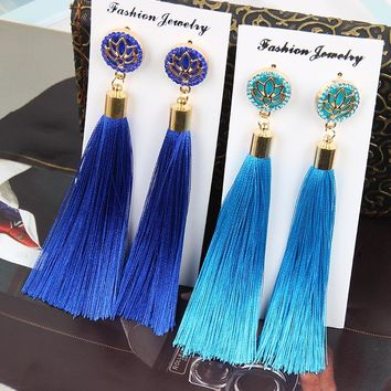 Trendy Bohemian Crystal Tassel Earrings White Blue Red Pink Silk Fabric Long Drop Dangle Tassel Vintage Earrings For Women