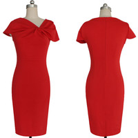 Red Twisted V-Neck Midi Dress