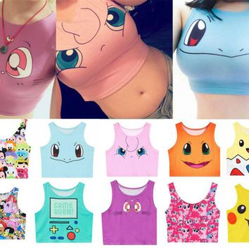 2017 Summer Harajuku Sexy Girls Cosplay Costume Pokemon Go Pocket Monster Sailor Moon Crystal Crop Tops Vest Tank Tops Shirt