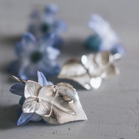 Sterling silver flower earrings - hydrangea earrings - nature jewelry - handmade botanical earrings - romantic jewelry - garden jewelry