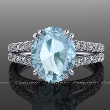 Aquamarine Engagement Ring 18K White Gold Split Shank Oval Aquamarine and Diamond Ring