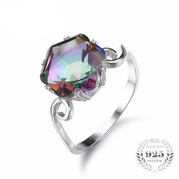 .925 Solid Silver Mystic Topaz Ring