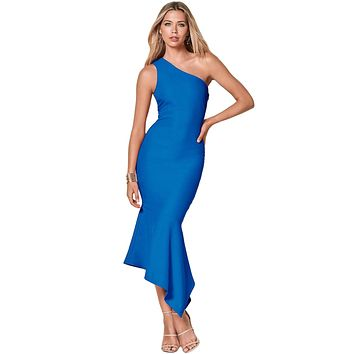 Z| Chicloth Royal Blue One Shoulder Tulip Party Dress